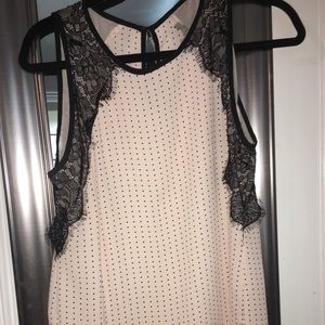 Loft polka dot top with lace detail